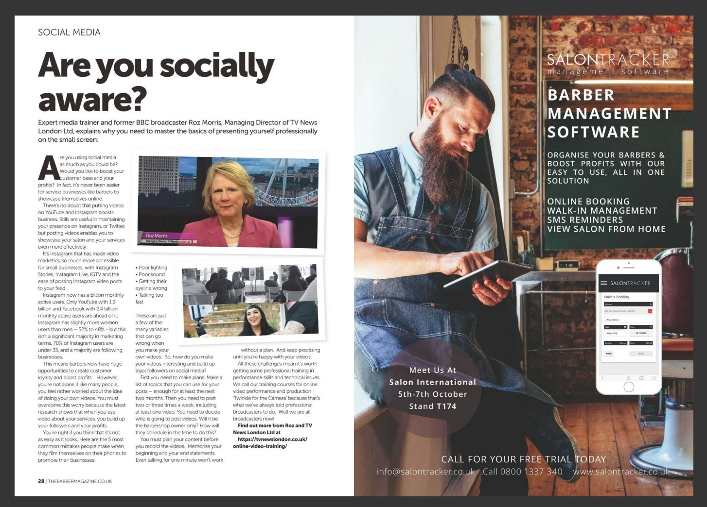 You are currently viewing TV News London Social Media Training Features in The Barber Magazine