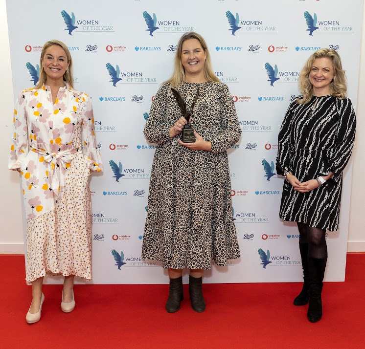 ( Left to right ) Helen Normoyle ( Boots - UK & ROI - Marketing Director ), Sylvia Mac, Winner ( The Boots Wellness Warrior Award ) ,and Tamzin Outhwaite Presenting The Boots Wellness Warrior Award at the Women of the year awards on October 12, 2020 in London, England. (Photo by David M. Benett/Dave Benett/Getty Images for Women Of The Year Awards )